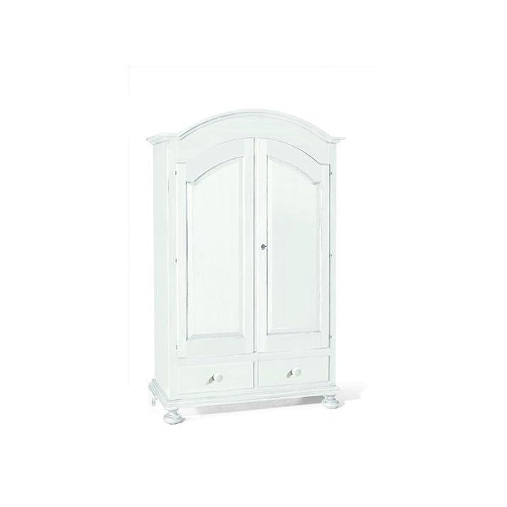 CLASSICO armadio Shabby Chic bianco 2 ante e cassetti guardaroba economico 125x61x200 1245
