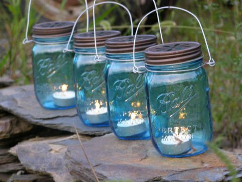 Four Blue Glass Mason Jar Lanterns Heritage Collection Candle Holder