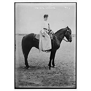Cow-girl, mounted on horse. Photo by Stimson, Cheyenne, Wyoming 1900