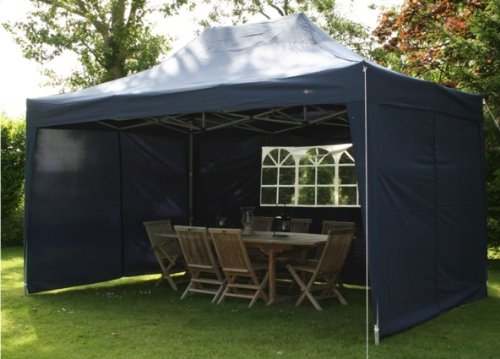 4.5mtr x 3mtr Blue Pop Up Gazebo, FULLY WATERPROOF, with Four Side Panels, Integral Windbar and Carry Bag