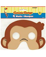 Curious George Foam Party Masks, 4 Count