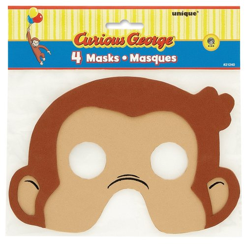 Foam Curious George Masks, 4ct
