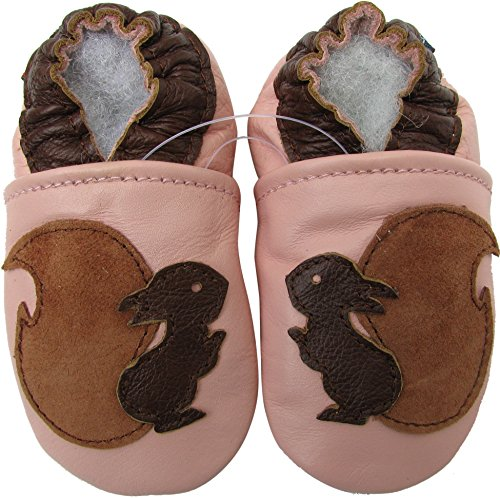 Carozoo baby girl soft sole leather infant toddler kids shoes Squirrel Pink 6-12m