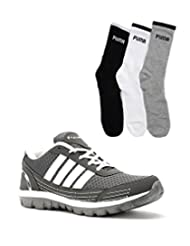 Elligator Gray & White Stylish Sport Shoes With Puma Socks For Men's - B0144R4Q04