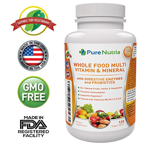 Whole Food MultiVitamin and Minerals with Probiotic Enzymes - 120 Multivitamins for Women and Men - Packed With WholeFood and Herbal Ingredients - Powerful Antioxidants for Digestive Support (Food Based Vitamin D compare prices)
