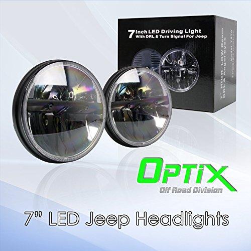 "Optix 7"" Round 80W Total CREE LED Jeep Wrangler Headlights"