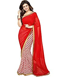 Arth Fashion Women's Georgette printed Saree With Blouse Piece (AYESHA5_Red_FreeSize)