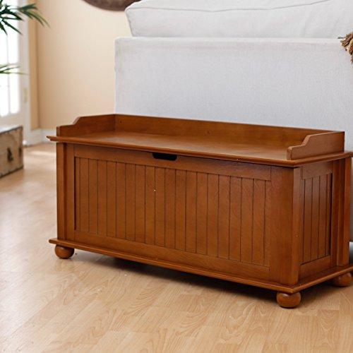 Belham Living Morgan Traditional Flip Top Indoor Storage Bench Seat - Pecan front-515302