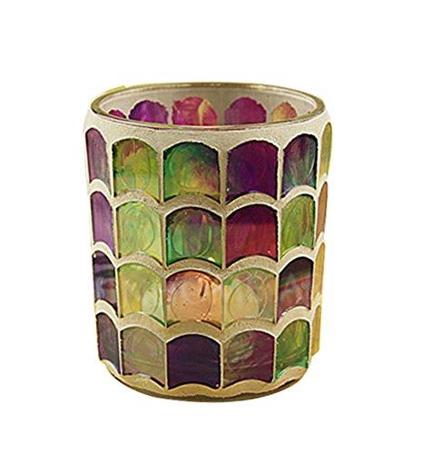 niceEshop(TM) ヨーロッパ風レトログラスモザイク キャンドルカップ (パープルうろこ)