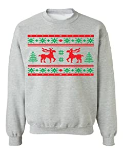 Festive Threads Ugly Christmas Sweater Design (Moose Design) Adult Sweatshirt (Heather Grey, Small)