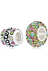 CHARMED BEADS Sterling Silver Multi-Crystal Sisters Bead Charm Set