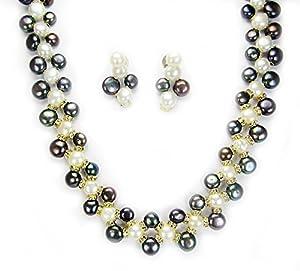 Trendy Souk Freshwater Beauty Black AAA Quality Pearls set