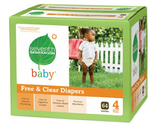 Seventh Generation Free and Clear Baby Diapers Super Jumbo Box, Stage 4, 64 Count