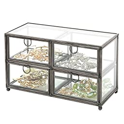 Modern Clear Glass & Black Metal 4 Drawer Display Box / Dresser Top Jewelry Storage Organizer - MyGift®