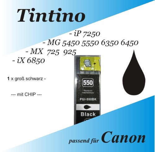 1 kompatible dicke schwarz iP 7250 MG 5450 5550 6350 6450 MX 725 925 iX 6850 - Canon Pixma kompatible Tintenpatronen PGi 550 XL 1 x bk
