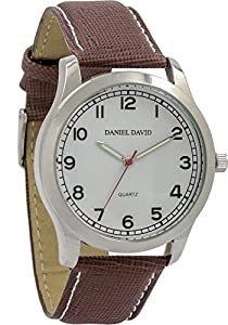 Daniel David Men's | White Dial Luminous Textured Brown Leather Watch | DD12802