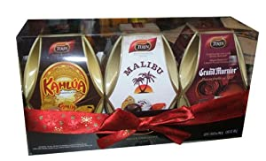 Turin Liquor Filled Chocolates Kahlua, Malibu, and Grand Marnier Christmas Holiday Ornament Holiday Gift Pack