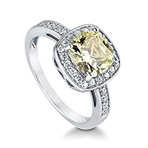 BERRICLE Sterling Silver Cushion Cut Canary Yellow Cubic Zirconia CZ Halo Womens Engagement Ring by BERRICLE