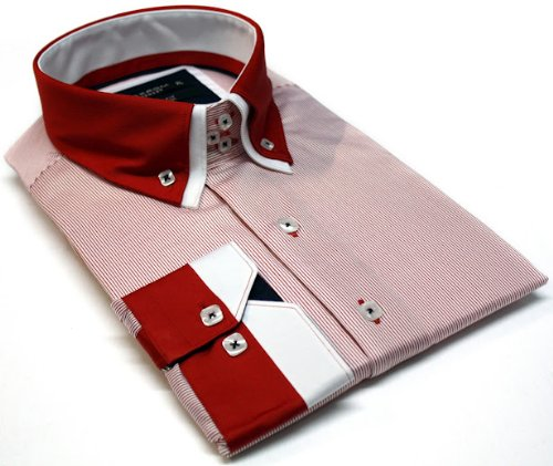Italian Design Men's Formal Casual Shirts Double Collar Button Down Red Colour