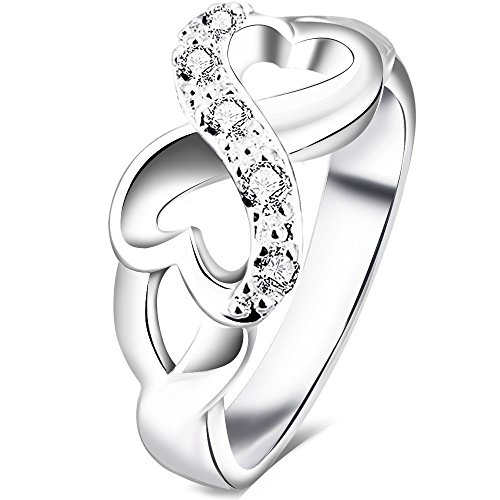 BOHG Jewelry Womens Fashion Silver-Plate Cubic Zirconia CZ Heart Infinity Symbol Ring Wedding Band Size 7 (Mom Ring compare prices)