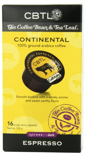CBTL Continental Espresso Capsules By The Coffee Bean & Tea Leaf, 16-Count Box
