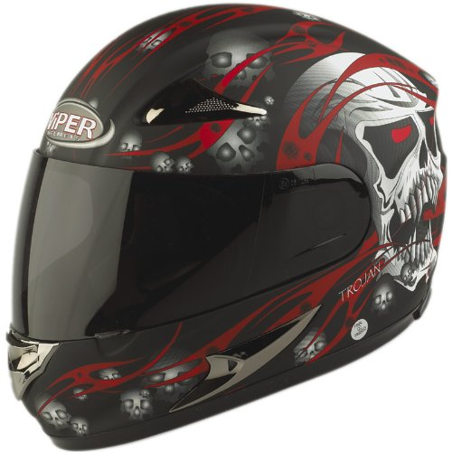 Viper RS-44 Skull Motorcycle Helmet M Matt Red