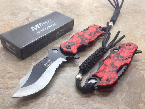 """M-Tech Assisted Opening Rescue Red Skull Design For Hunting Or Camping Tatical Pocket Knife 3.5"""" 2 Tone Half Serrated Stainless Steel Blade"""