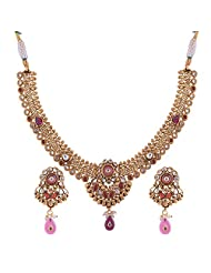 Ganapathy Gems 1 Gram Gold Plated Traditional South Indian Temple Jewellery Set