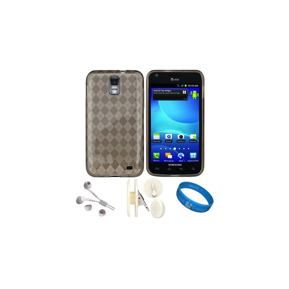 Smoke Argyle Premium Protective Silicone Skin Cover for Samsung Galaxy S II Skyrocket Android Smartphone by AT&T + White Headphones + White Earphone Winder Button Accessory Clip + SumacLife TM Wisdom*Courage Wristband