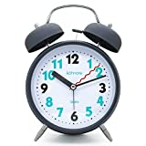 "JCC 4"" Twin bell Quartz Analog Silent non ticking sweep second hand bedside alarm clock with Nightlight and Loud Alarm (Gray)"