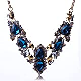 Beautiful Charming Antique Gold Crystal Rhinestone Chunky Women Collar Necklace