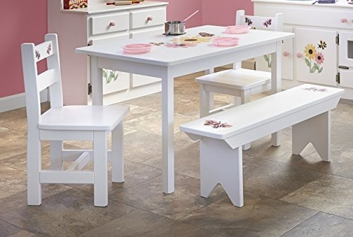 Children's Kid's Maple FULL KITCHEN PLAY SET Play Furniture- White Paint Stenciled Finish - Amish Made USA