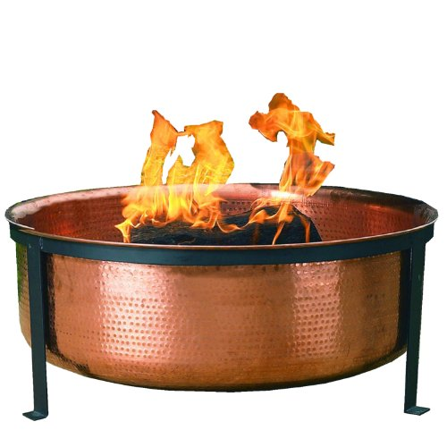 Discount CobraCo SH101 Hand Hammered 100% Copper Fire Pit with Screen and Cover