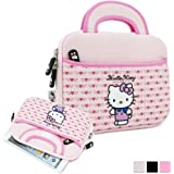 "Hello Kitty Themed Apple iPad Mini / 8"" Tablet Sleeve w/ Handles in Light Pink (Neoprene, Water Resistant, Branded YKK Zippers, Soft Plush Inner Lining)"