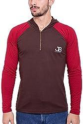 Jangoboy Men's Regular Fit Sweatshirt (F4U-36_S, Brown And Maroon, S)