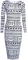 WOMENS LADIES BLACK AND WHITE TRIBAL AZTEC LONG SLEEVED MIDI DRESS