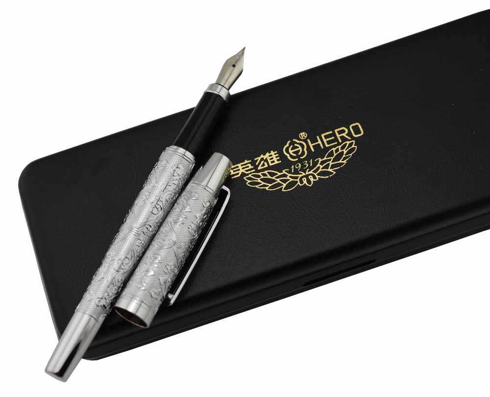 Lanxivi Hero Silver Flower Embossment Fountain Pen Iridium Medium Poit Pen Pouch Gift Box Set 0