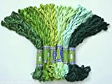 New ThreadNanny 60 Skeins of Silky Hand Embroidery Cross Stitch Floss Threads - GREEN TONES