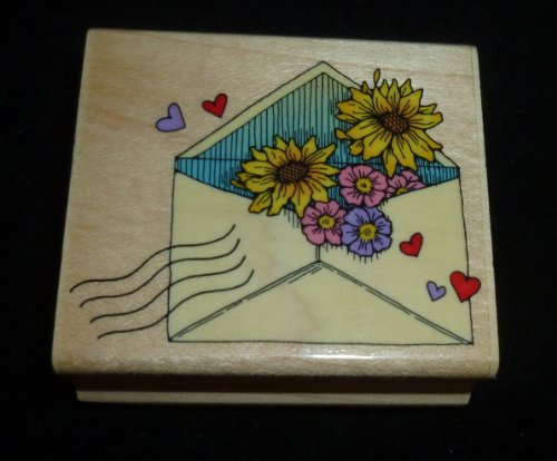 Envelope With Flowers Rubber Stamp - 1