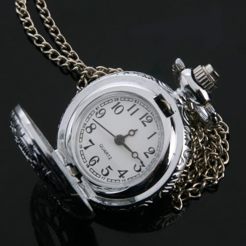 12910-i-ARGENT-ANTIQUE-CHANE-DE-COLLIER-CREUSE-MONTRE-DE-POCHE-RONDE