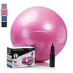 Exercise Ball with Pump- Gym Quality, Anti-Burst, Anti-Slip (Pink, 65 centimeters) Fitness Ball by DynaPro Direct. More colors and sizes available aka Yoga Ball, Swiss Ball