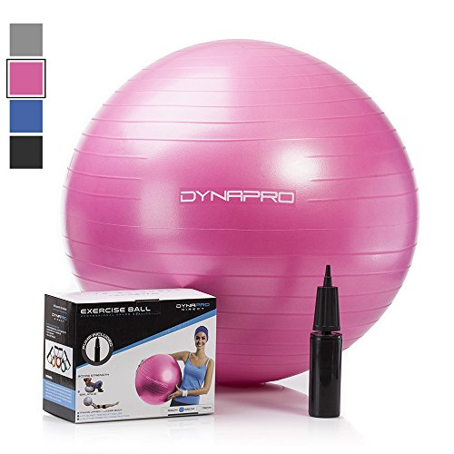 Exercise Ball with Pump- Gym Quality, Anti-Burst, Anti-Slip (Pink, 55 centimeters) Fitness Ball by DynaPro Direct. More colors and sizes available aka Yoga Ball, Swiss Ball