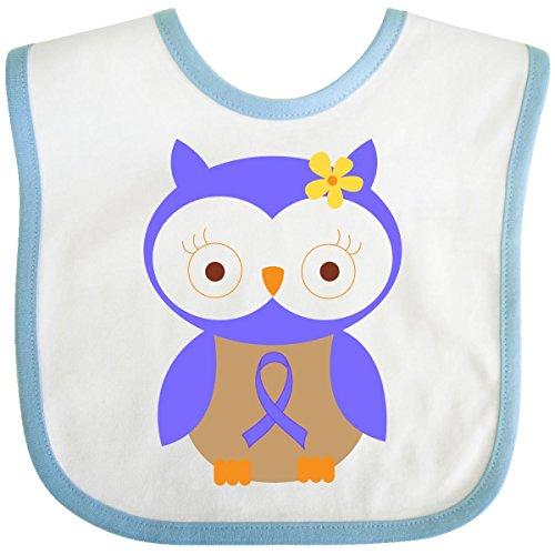 Inktastic Baby Boysâ€Tm Periwinkle Ribbon Owl Awareness Baby Bib One Size White/Blue front-652671