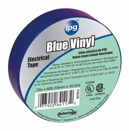 Intertape 85831 .75 In. X 60 Ft. Vinyl Electrical Tape, Blue 3 Pack
