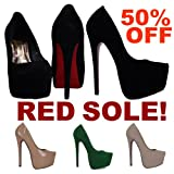 P1B Womens Very High Heel Stiletto Concealed Platform RED SOLE Pointed Pointy Ladies Court Shoes Pumps