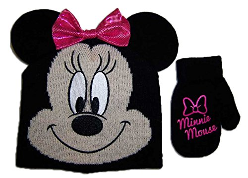 Disney Minnie Mouse Bowtique Girls Beanie Hat and Mitten Set - Toddler