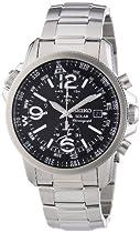 Seiko Solar Chronograph Compass Black Dial Mens Watch SSC075