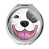 Pit Bull Face Black And White Dog Compact Purse Mirror