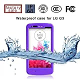(Surprised) Lg G3 Waterproof Case (Gift for Screen Protect Film and Clean Cloth) Full-body Protective Case Waterproof Shockproof Dustproof Snowproof Case Cover 6.6 Ft Underwater Durable Full Sealed Protection Water Resistant Hard Shell Full-body Protective (Stand Feature) (3 Months Warranty) Case Cover for Lg G3 (Do Not Fit for Lg G3 Mini) (LG G3 XLJ purple)