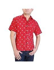 Viniyog Men's Slim Fit Cotton Hand Woven Shirt (Red)